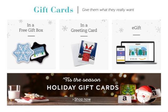 Gift guide for ebook lovers - Amazon gift cards