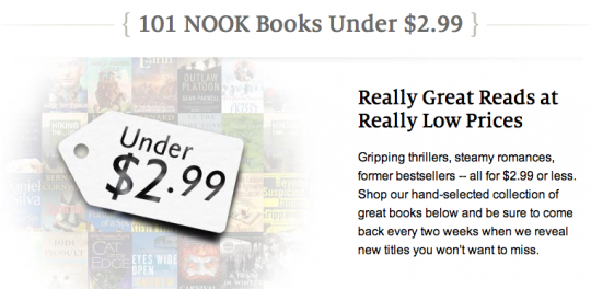 Barnes and Noble - 101 nook books under $2.99