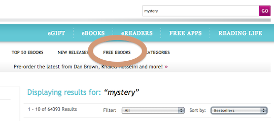 Find free ebooks on Kobo - perform a search