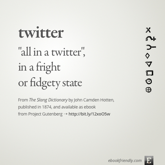 Project Gutenberg The Slang Dictionary 1874 - John Camden Hotten - entry - twitter