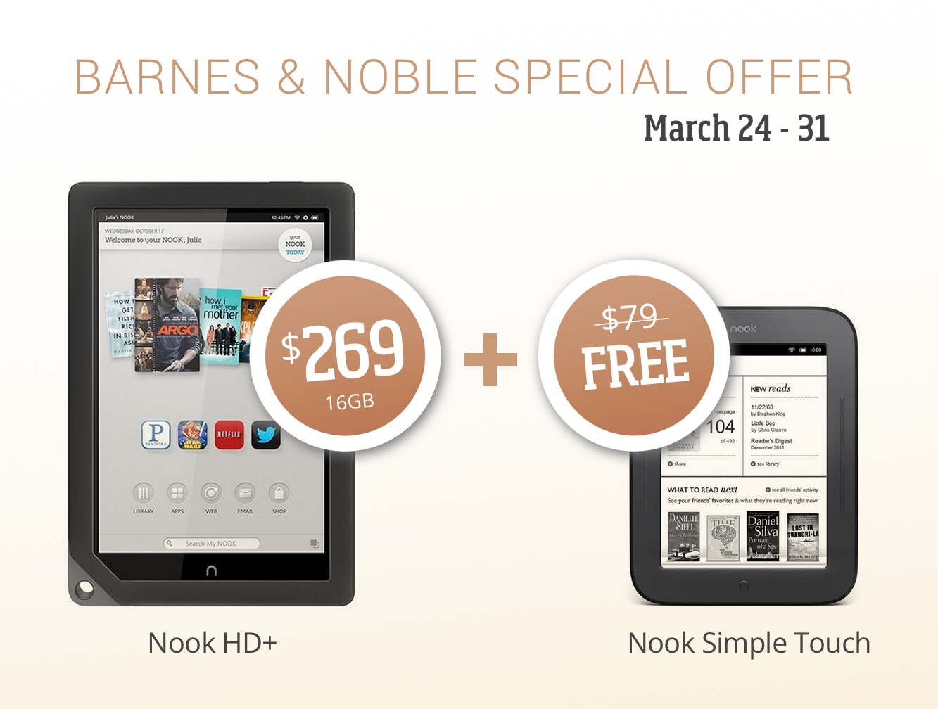 Barnes&Noble special offer: Nook HD+ with Nook Simple Touch for free, worth $79