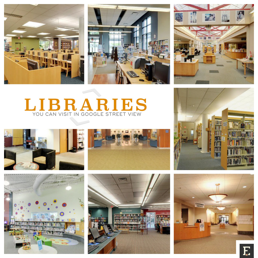 Libraries you can visit using internal view in Google Maps