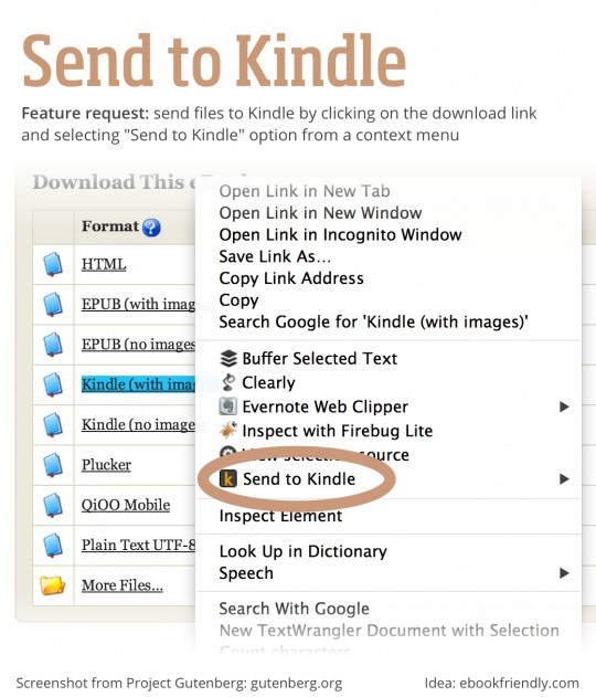 Send to Kindle - single feature request