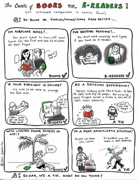 The battle of books - cartoon by Sylvia Liu
