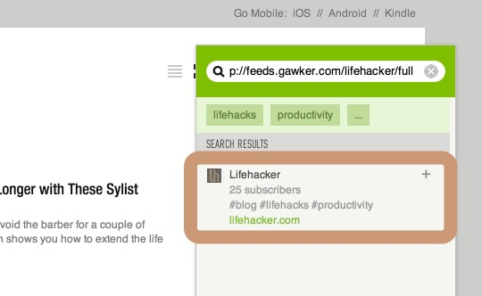 Adding content to Feedly - copy and paste RSS feed link address