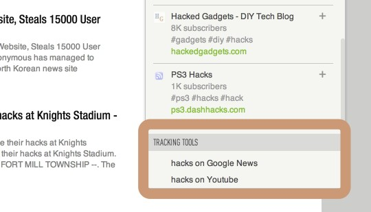 Feedly finding content by trakcing tools