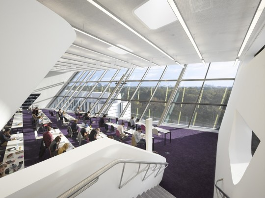 Library Of The Vienna University Economics Was Designed By Zaha Hadid Architects