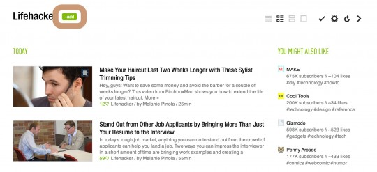 Lifehacker - subscribe by RSS - automatically add content to Feedly