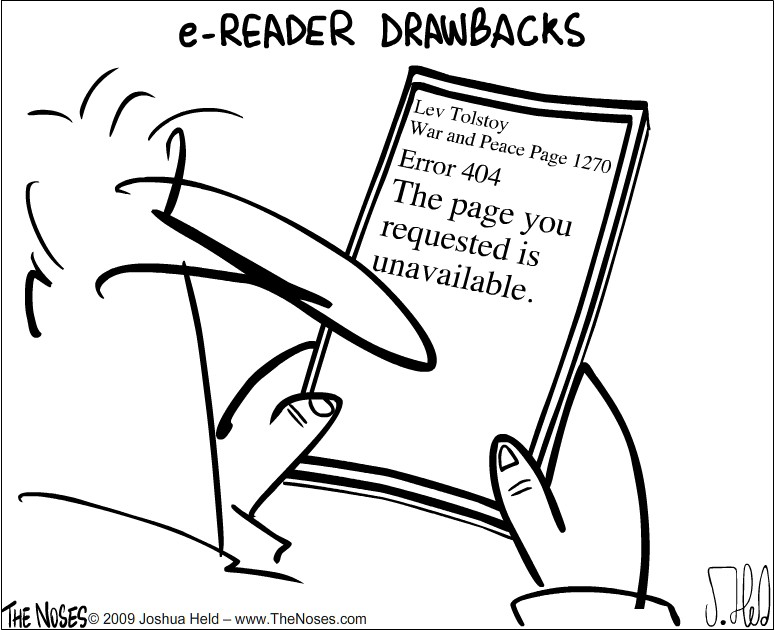 Ereader drawbacks - cartoon