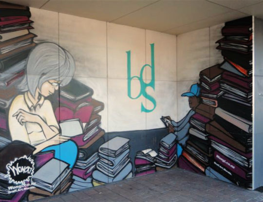 A mural in front of Book Discussion Scheme in New Zealand