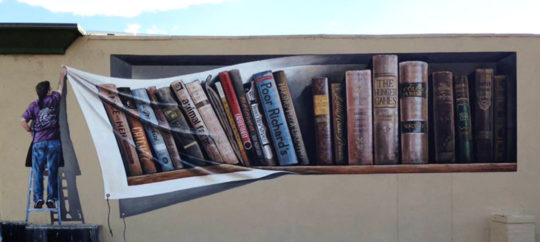 Banned Books Week mural on the wall of Poor Richard's Bookstore in Colorado Springs
