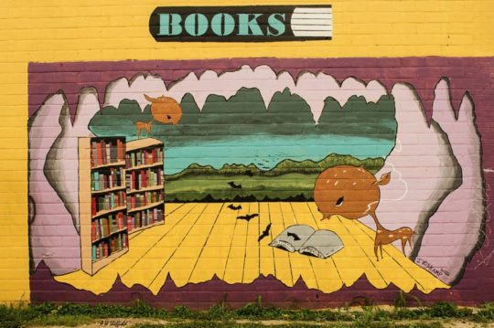Books mural on the side of South Congress Books bookstore in Austin