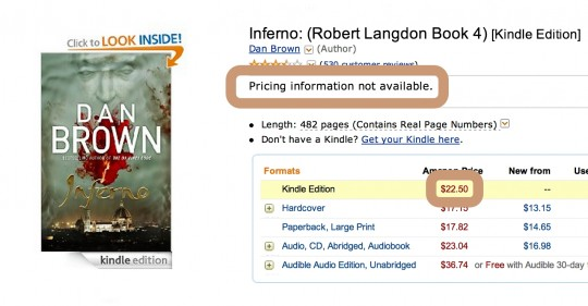 Dan Brown Inferno - pricing for users living outside US