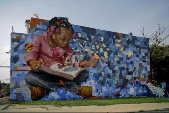 """Donald Gensler, """"Reading: A Journey"""" (2005, Mural Arts Philadelphia)"""