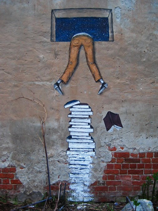 Street Art - Climb Over Books