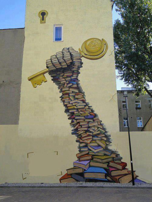 Arte de rua - A educação é a chave para o conhecimento