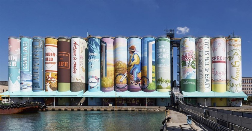 best examples of bookish street art: bookshelf mural in Incheon, South Korea