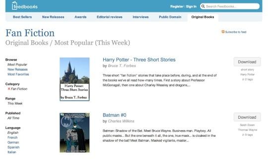 Fanfic websites - Feedbooks
