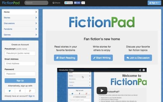 Fanfic websites - FictionPad
