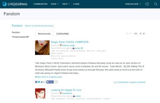 Fanfic websites - LiveJournal