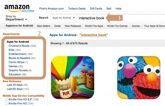 Finding interactive books for Kindle Fire in the Amazon Appstore for Android