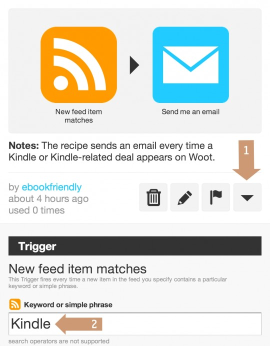 IFTTT personalize the recipe