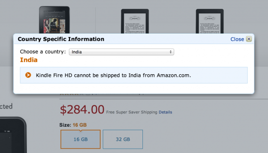 Kindle Fire does not ship to India