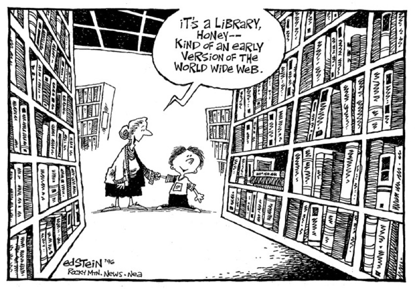 An early version of the world wide web - the best library cartoons
