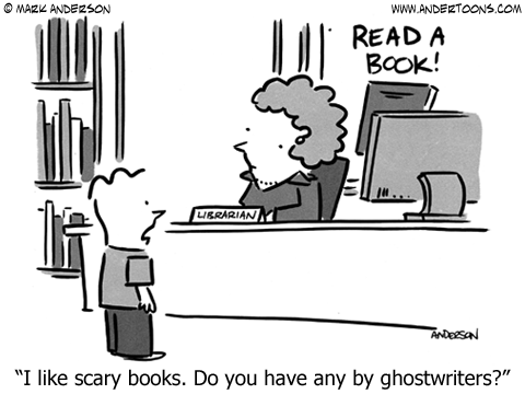 Andertoons by Mark Anderson - library cartoon scary books