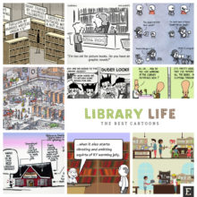 25 library cartoons, comic strips, and pictures