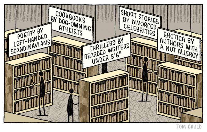 Exploring the library - a cartoon by Tom Gauld