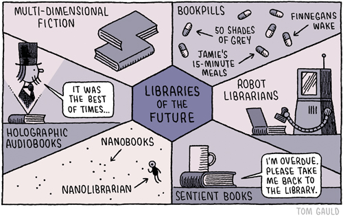 Libraries of the future - a cartoon by Tom Gauld
