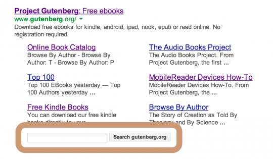 Project Gutenberg - search via Google
