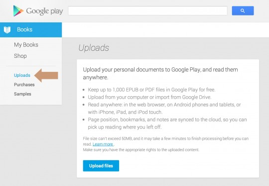 Google Play Books - upload own files