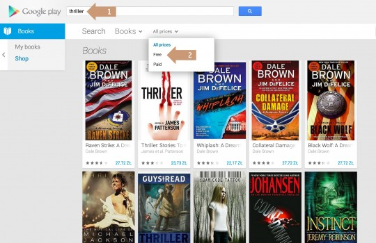 Google Play ebookstore - search for free ebooks