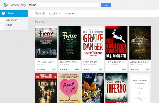 Google Play ebookstore - search for free ebooks - filter by free