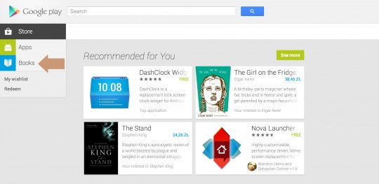 Google Play ebookstore - select Books section