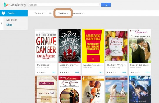 Google Play ebookstore - select Top Charts section