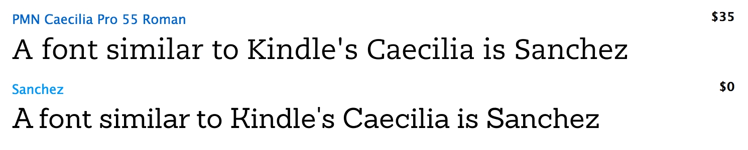 Looking for a font similar to Kindle's Caecilia? Get Sanchez Regular
