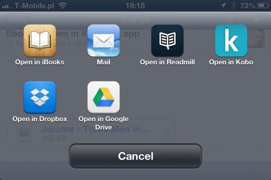 Add own books to iOS book app - via email 2 step
