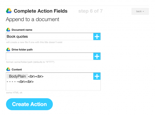 Create archive of book quotes - setting up IFTTT - step 2