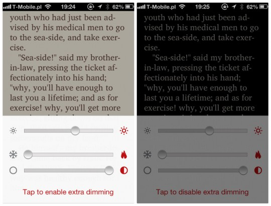Marvin book reader for iPhone - brightness warmth