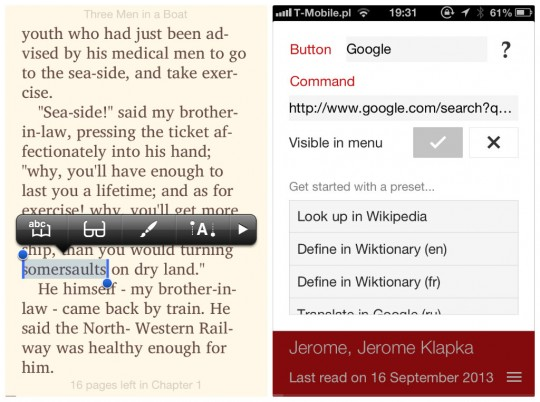 Marvin book reader for iPhone - custom commands