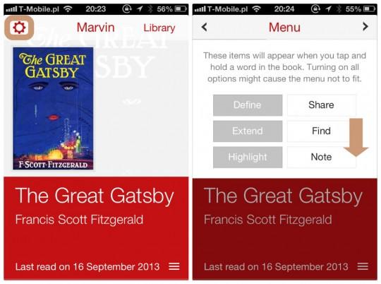 Marvin book reader for iPhone - custom translation 1