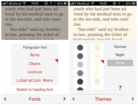 Marvin book reader for iPhone - customization