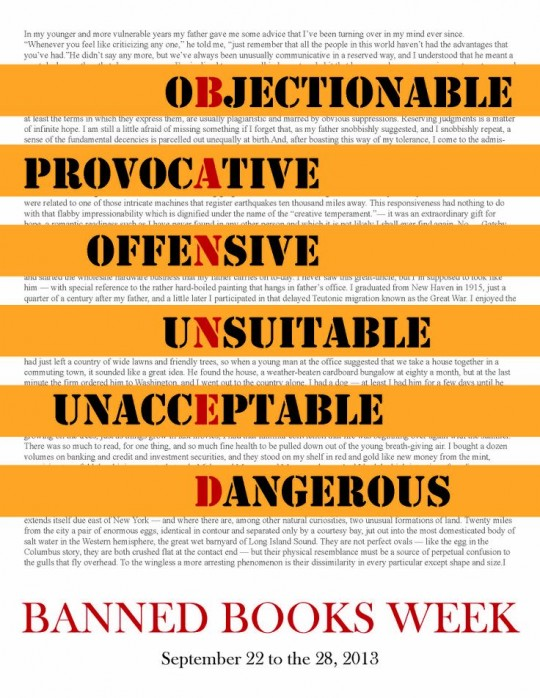 Banned Books Week 2013 Poster for the SFC Library