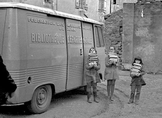 A bibliobus in Eastern France, Jura Department