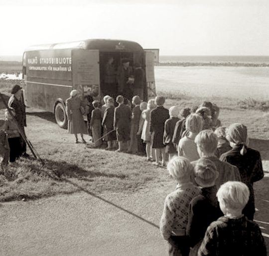 A book bus of the Malmö Public Library, 1950s