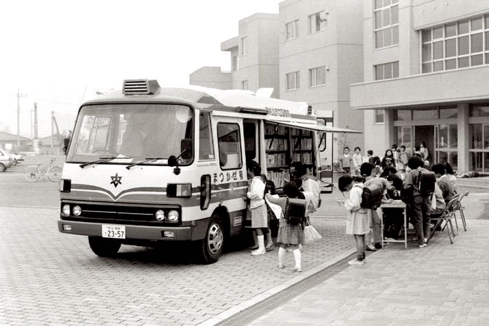 A bookbus of the Library of Higashimatsuyama City, Japan