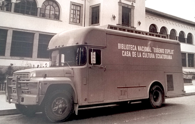 A bookmobile in Ecuador